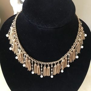 Vintage gold and pearl fringe drop bead necklace